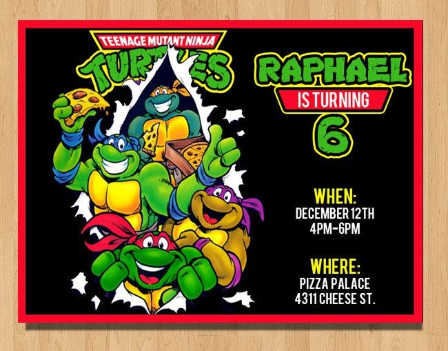 Teenage Mutant Ninja Turtles Birthday Invites Teenage Mutant Ninja