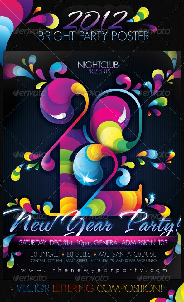 2012 Bright Party New Year Poster | Print Templates, Design