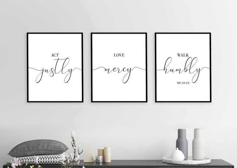 Instant Download Bible Verse Wall Art Bible Quotes Micah 6 8 Act Justly Walk Humbly Bible Quotes Set Of 3 Prints Printable Decor 1 With Images Bible Verse Wall Art Bible Verse Wall Printable Decor
