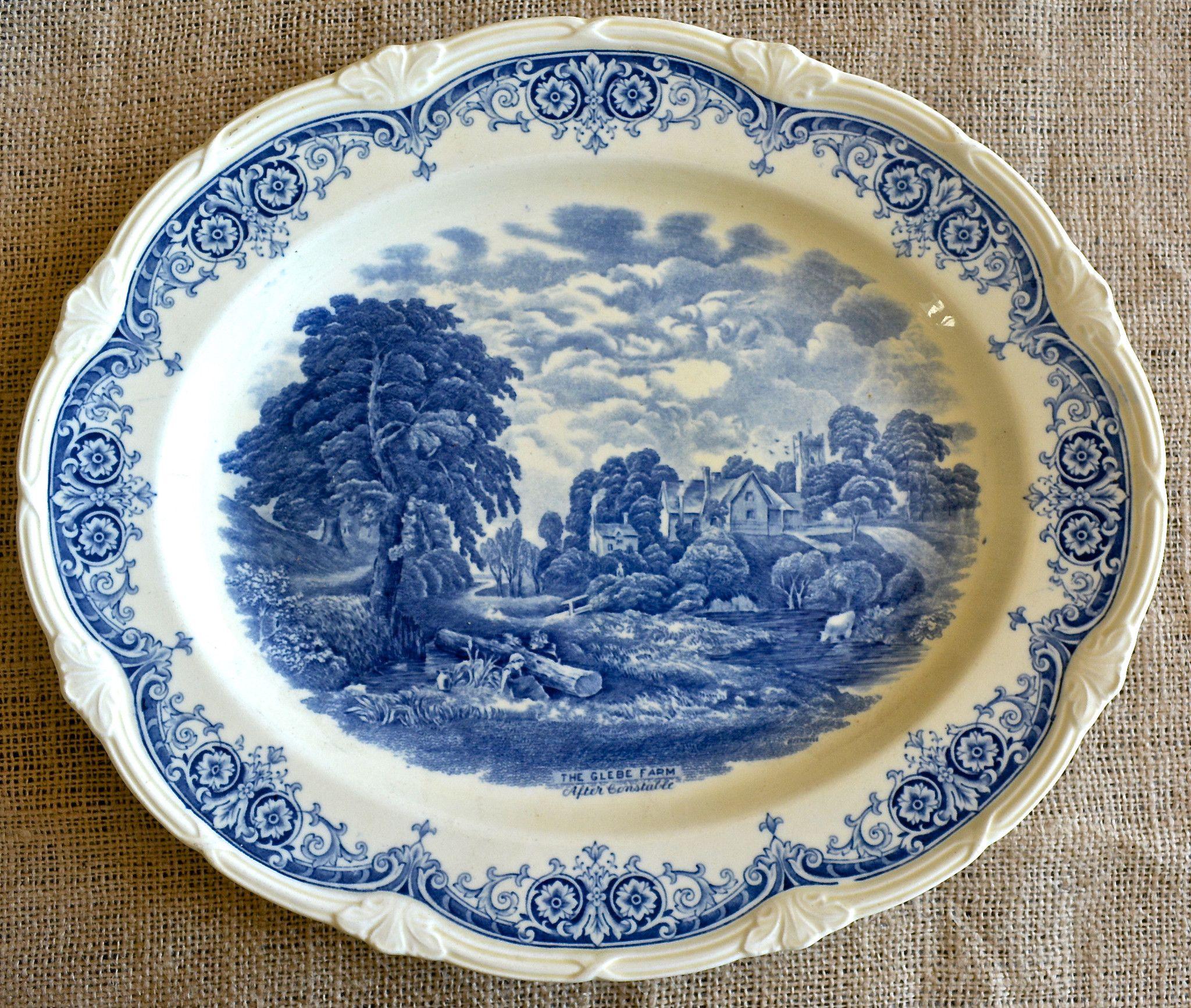 Blue Transferware Scenes After Constable English Creamware Platter Con