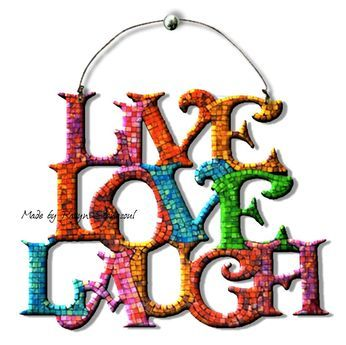 Live Love Laugh Colorful Mosaic Wall Hanging