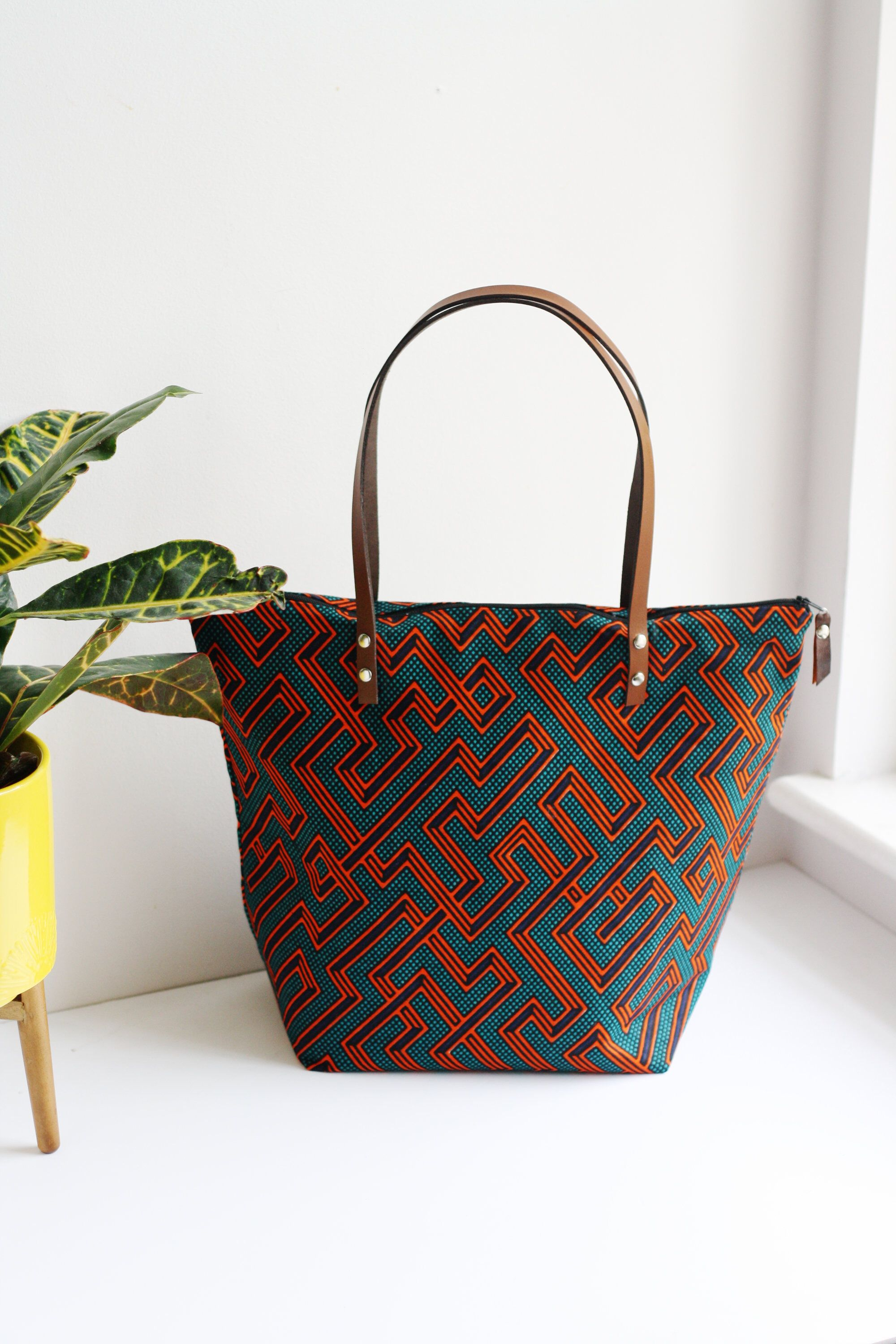 Ankara fabric tote bag shopper with leather handles