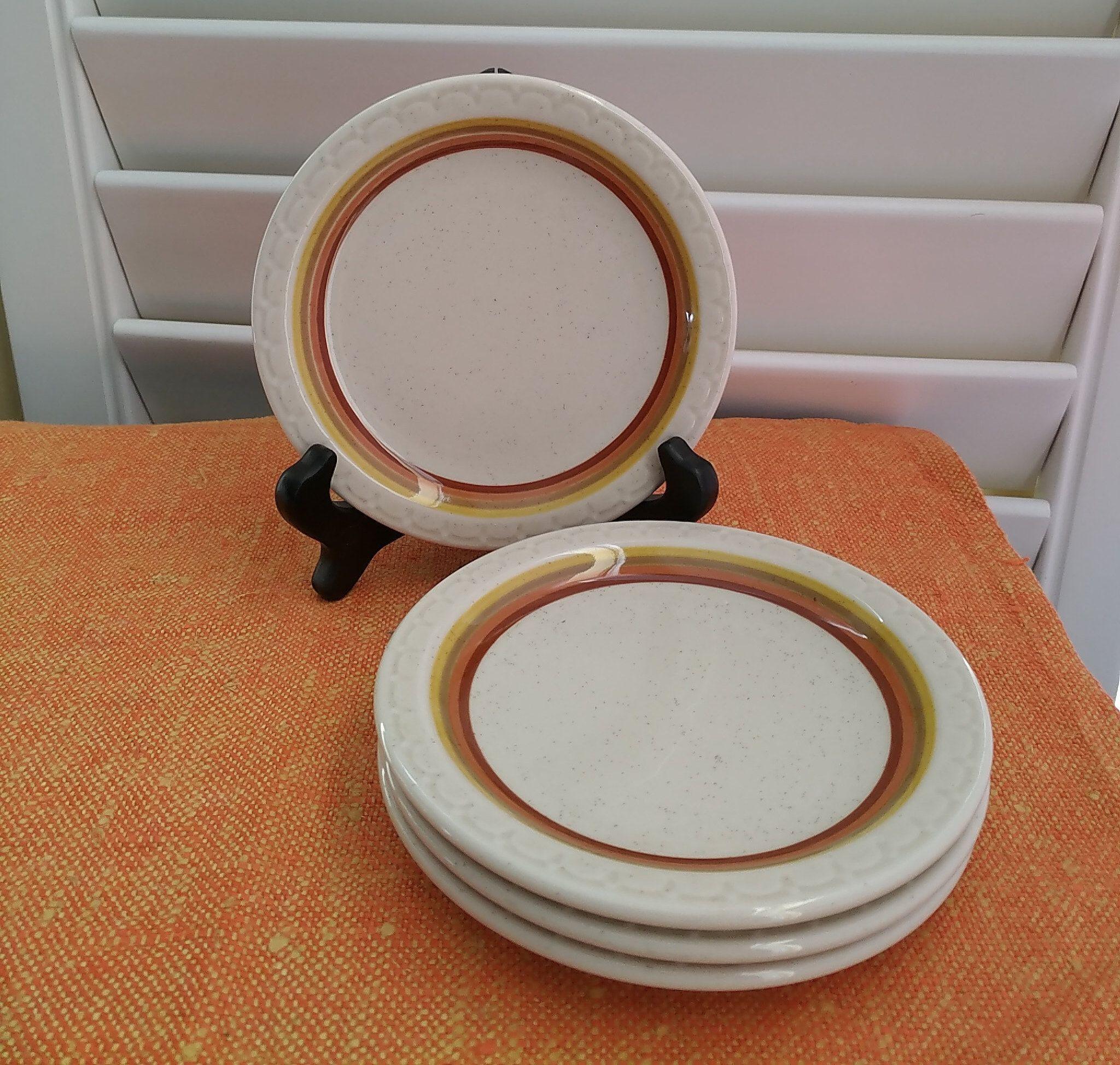 Mid Century Syracuse Plates Vintage Econo Rim Plates Set