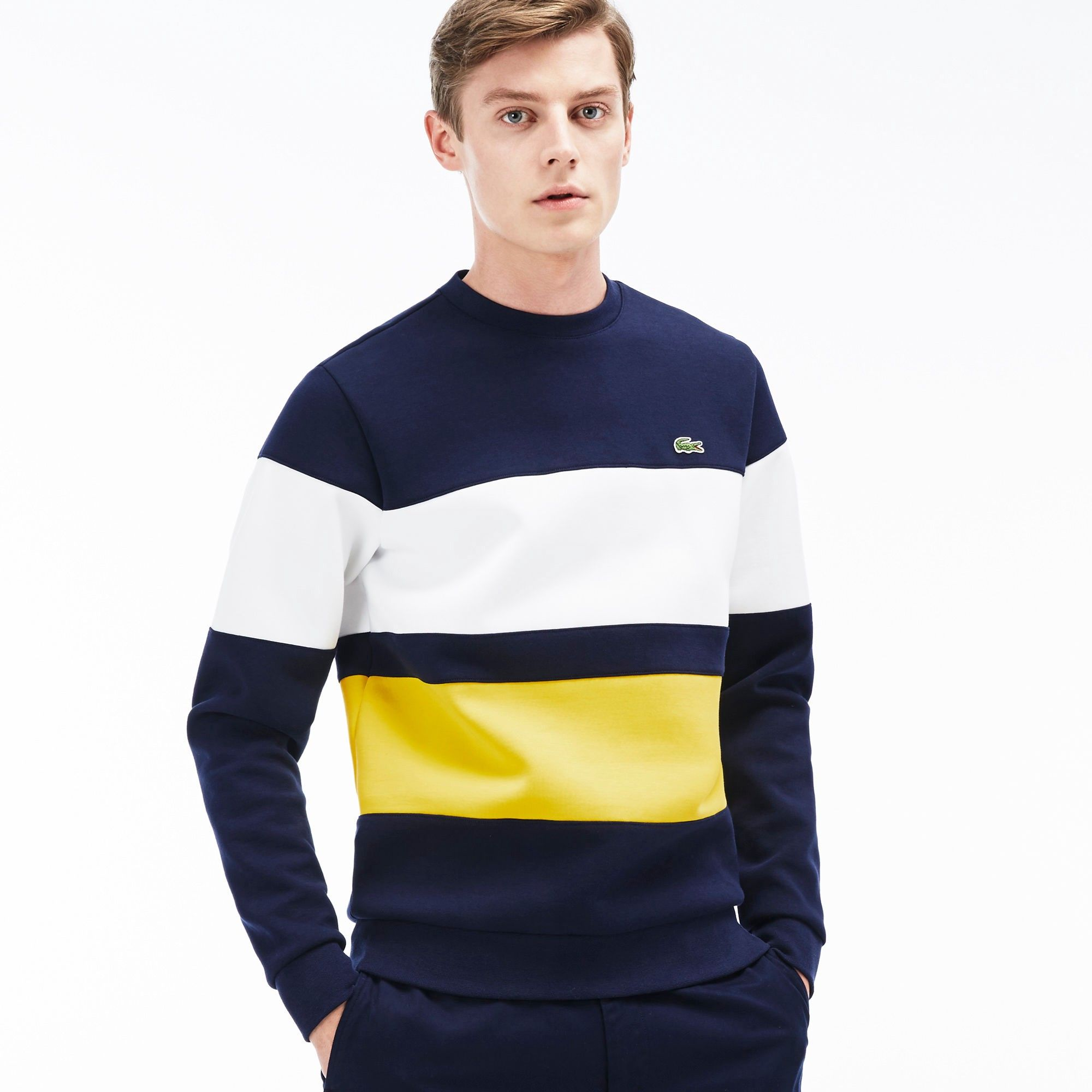 Lacoste Mens Color Block Fleece Sweatshirt  Navy Bluewhite Sunny #Lacoste