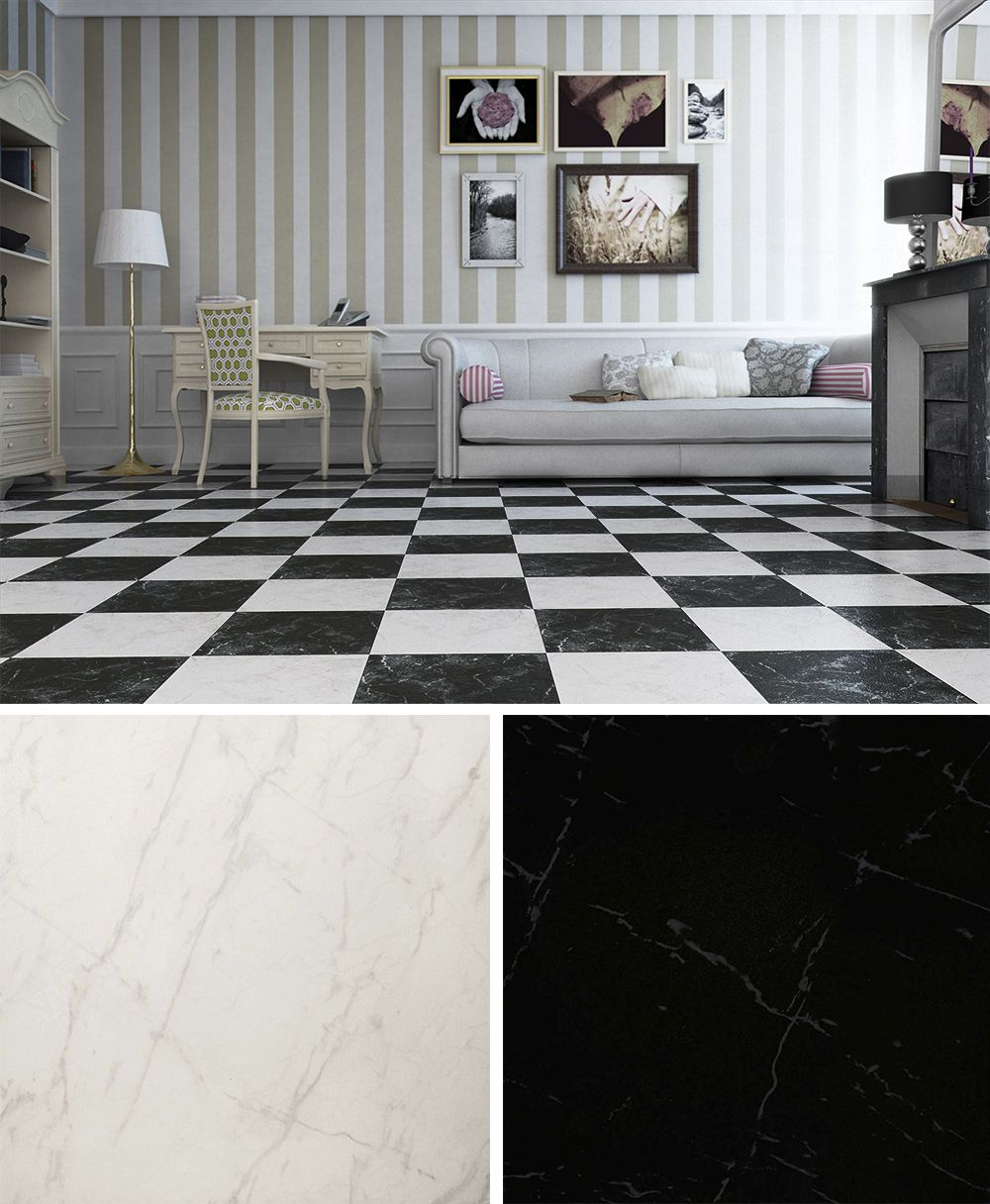 Black Gloss Kitchen Floor Tiles: Otono Marble Effect Black And White Floor Tiles. A