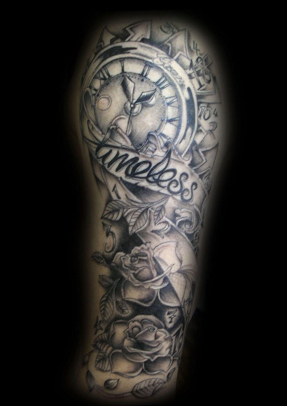 Timeless Sleeve Clock Tattoo Timeless Tattoo Vintage Clock Tattoos
