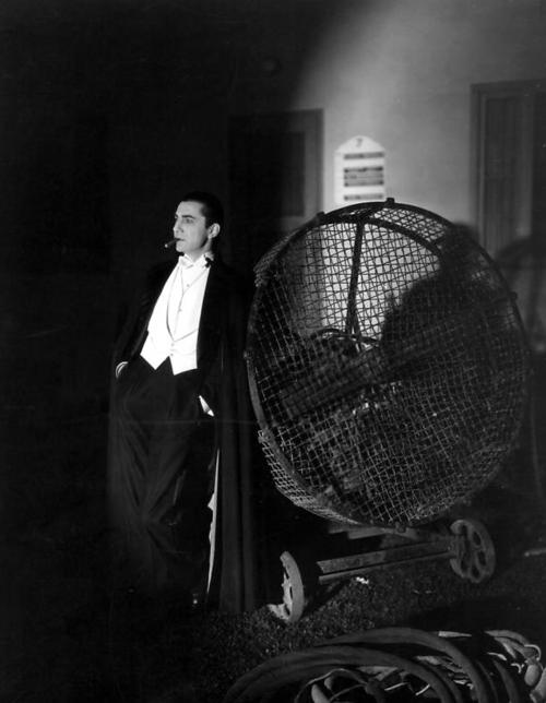 Bela Lugosi on the set of Tod Browning's 1931 film, Dracula.