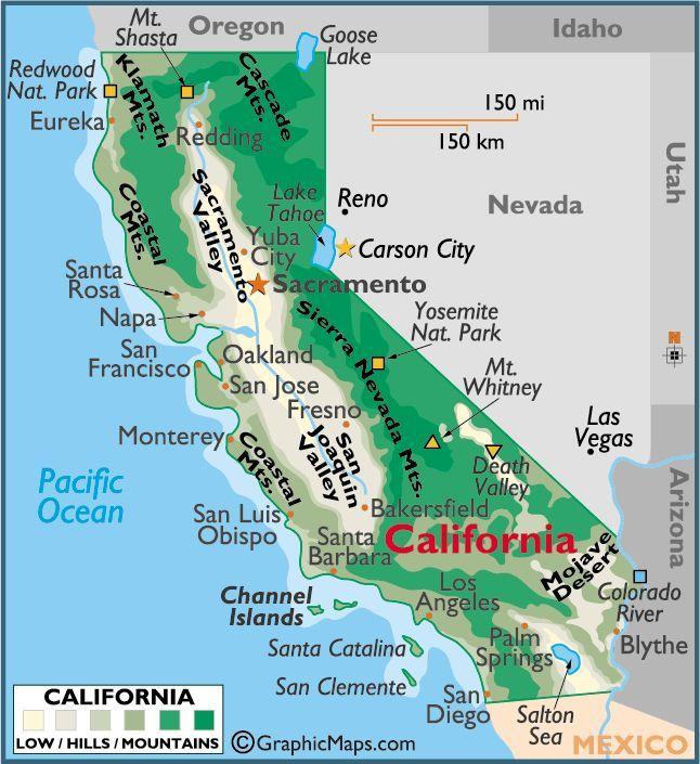 Sierra Mountains California Map.Mojave Desert In California Coastal Mountains Sierra Nevada