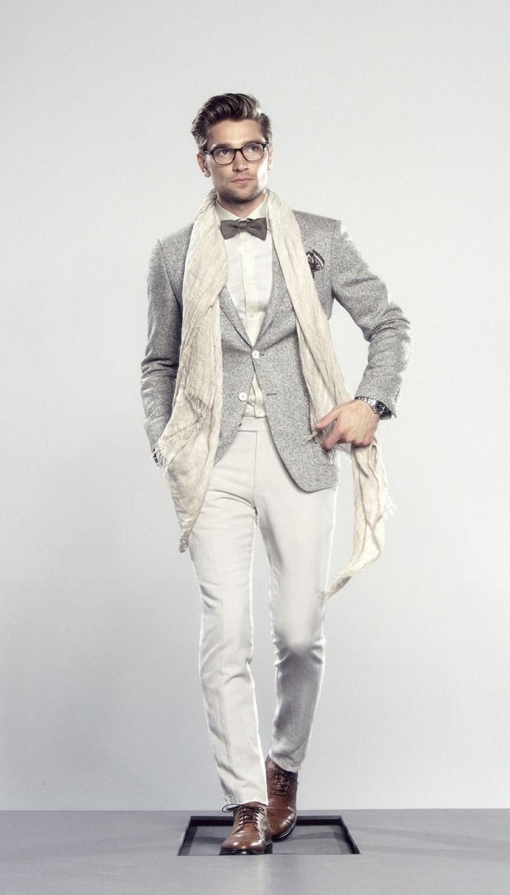 3e8f3e317433a Nice style and outfit. Gray Raw Silk and Linen Jacket, White Silk Pants, &  Cream Scarf. Men's Spring Summer Fashion.