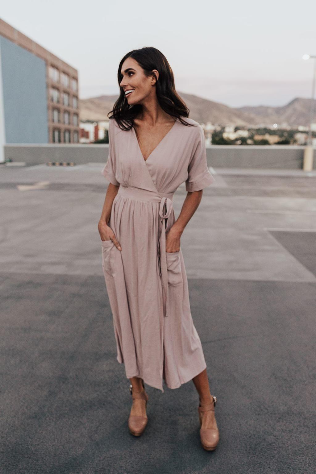 Kirby Linen Wrap Midi In Taupe Fashion Wrap Around Dress Taupe Midi Dress [ 1536 x 1024 Pixel ]