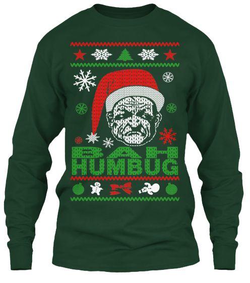 Bah Humbug Ugly Christmas Sweater-Style printed Sweatshirt.  scrooge  tshirt e613de774