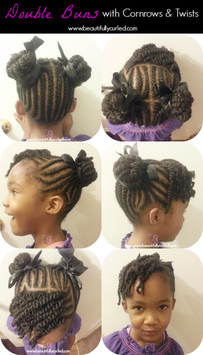 Beautifully Curled Double Buns With Cornrows And Twists On