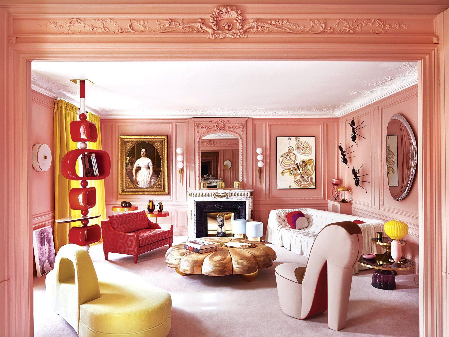 Hogar Colorido En Paris Por Geraldine Prieur Salas Chic Diseno De Interiores Disenos De Unas Y Apartamento Contemporaneo