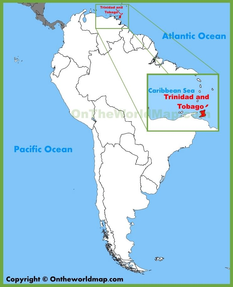 Trinidad and Tobago location on the South America map Maps