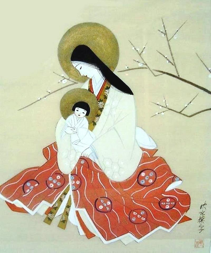 Madonna and child. Japanese painting on silk. circa 1900-05