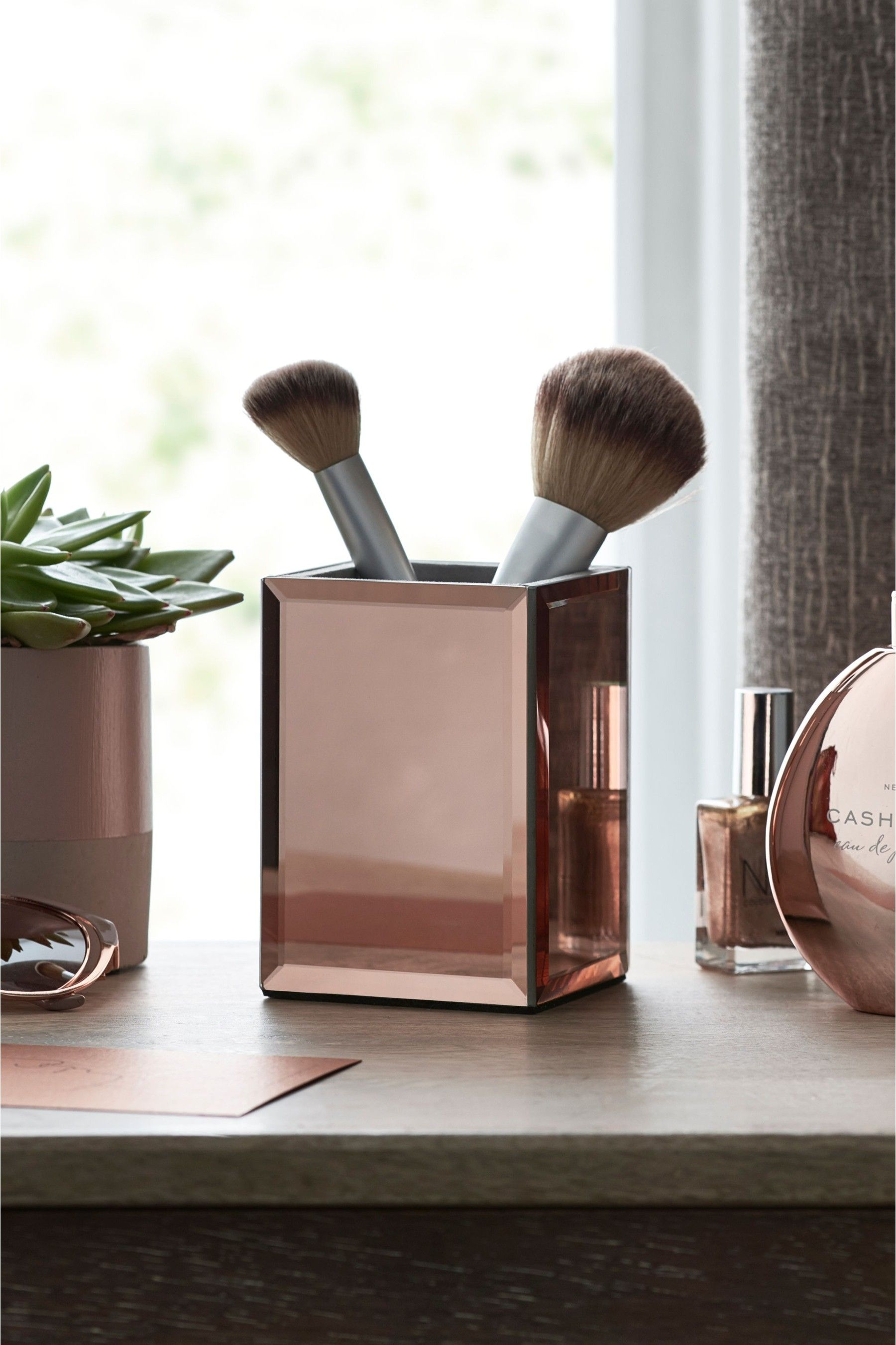 Next Rose Gold Pot Pink Rose gold and grey bedroom