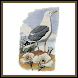 Utah State Bird and Flower Counted Cross Stitch Pattern - California Seagull and Sego Lily