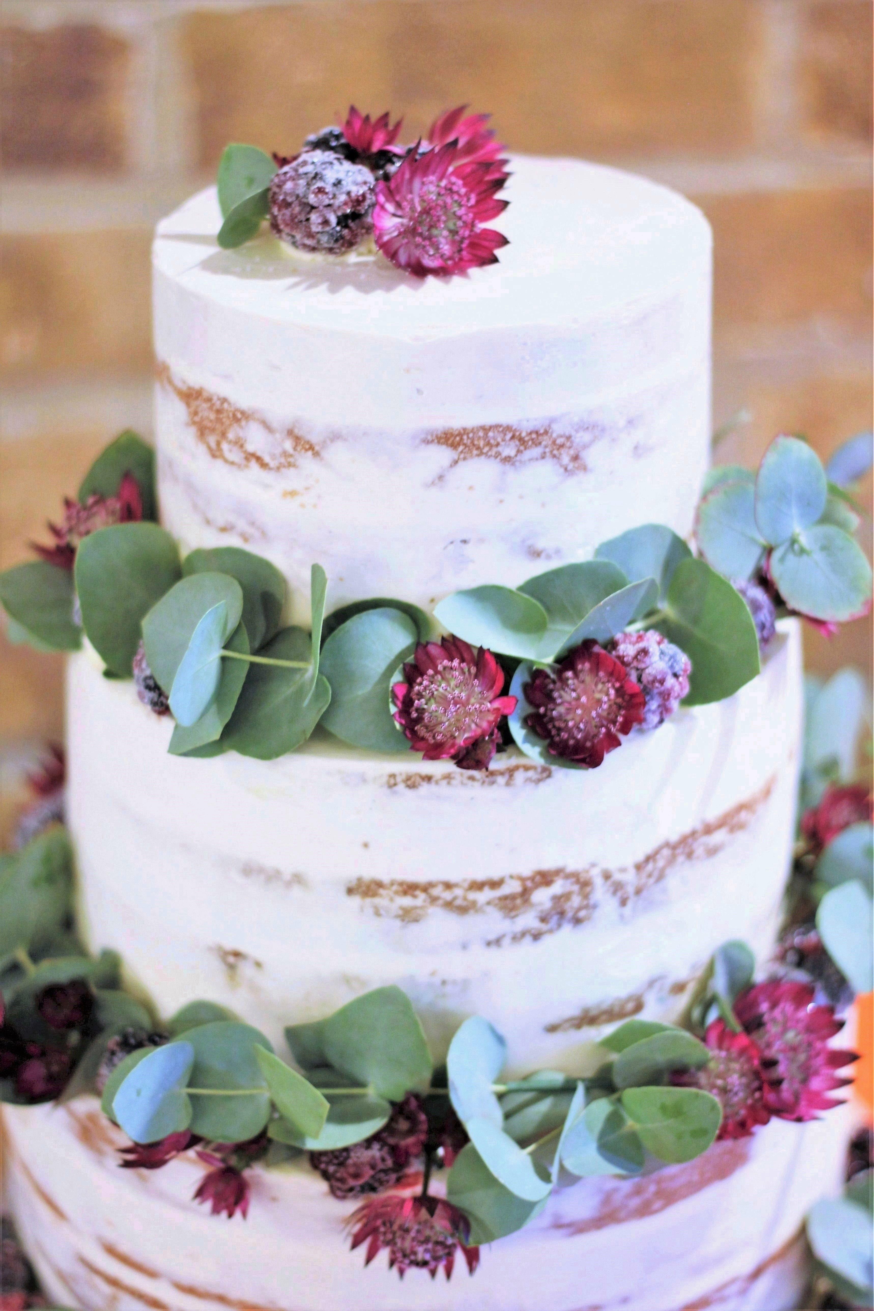 14dfeb377cb Autumnal 3-tier semi-naked wedding cake - Victoria sponge   carrot cake  tiers with Swiss meringue buttercream