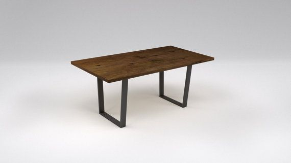 Barn Wood Pine Dining Table Metal Inverted Steel Leg Base - Variety of Sizes & Finishes Available