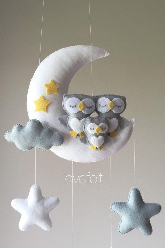 Babymobil-Eulenmobil-Krippe Mobile Owl-Baby Mobile Stars #feltcreations