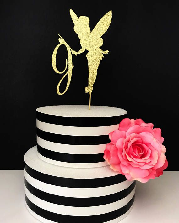 Gold Fairy Cake Topper Centerpiece Tinkerbell