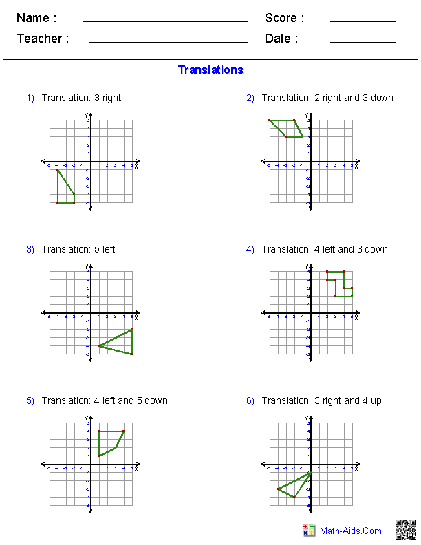 Translations Worksheets Math Aidscom Pinterest Math