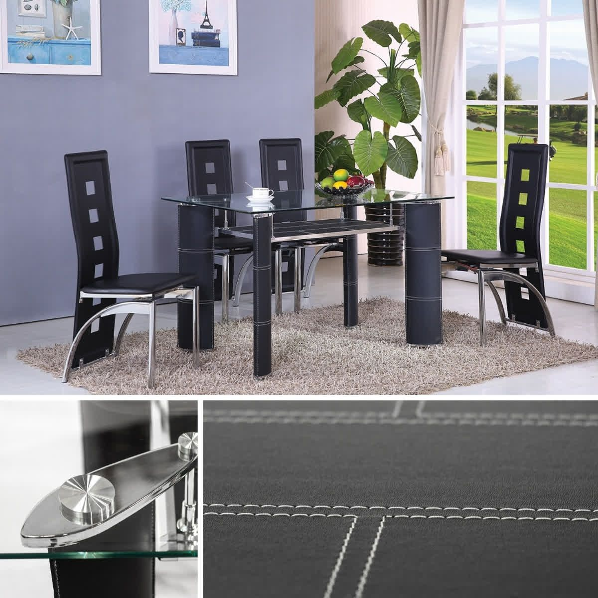 Home Source Black Tempered Glass Table and Four Chairs