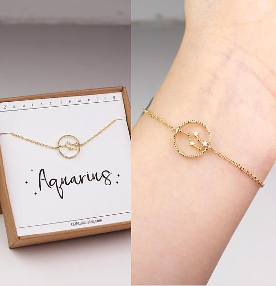 Aquarius bracelet horoscope bracelet zodiac jewelry