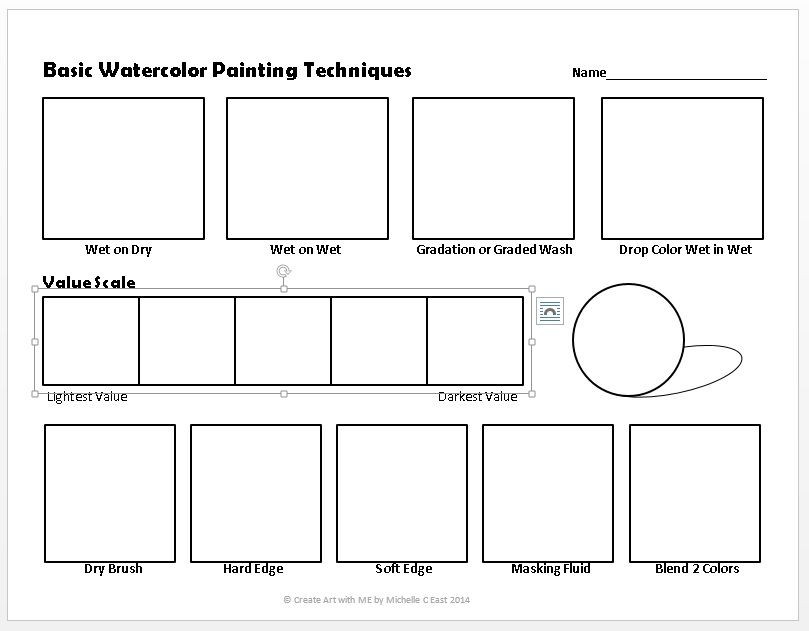 Basic Watercolor Painting Techniques Worksheet In 2020