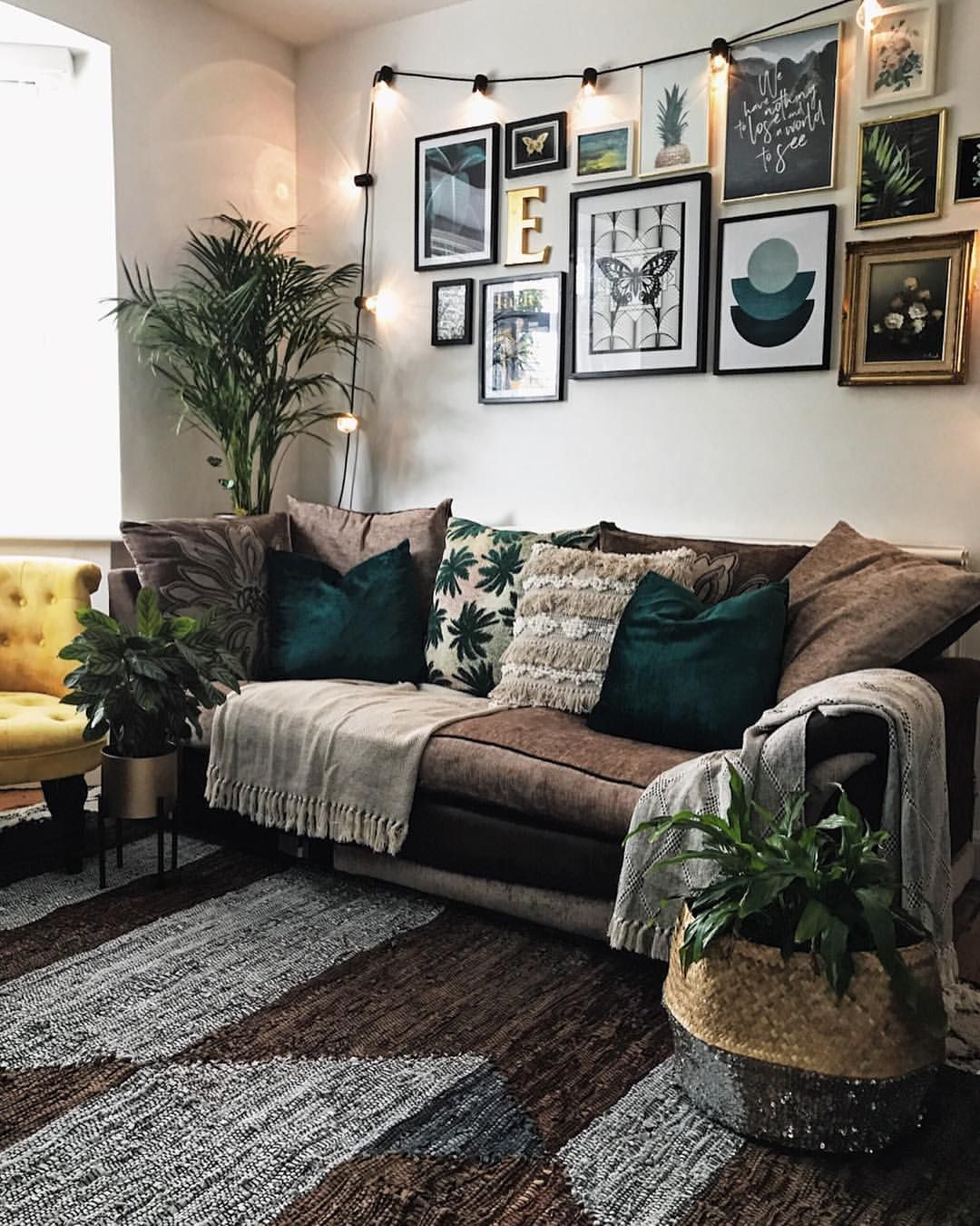 Pin By Amber May On Apartment Farm House Living Room Living Room Green Brown Couch Living Room