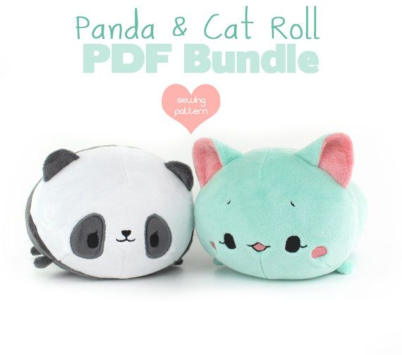 PDF sewing pattern bundle - Panda and Cat Roll loaf stacking plush ...