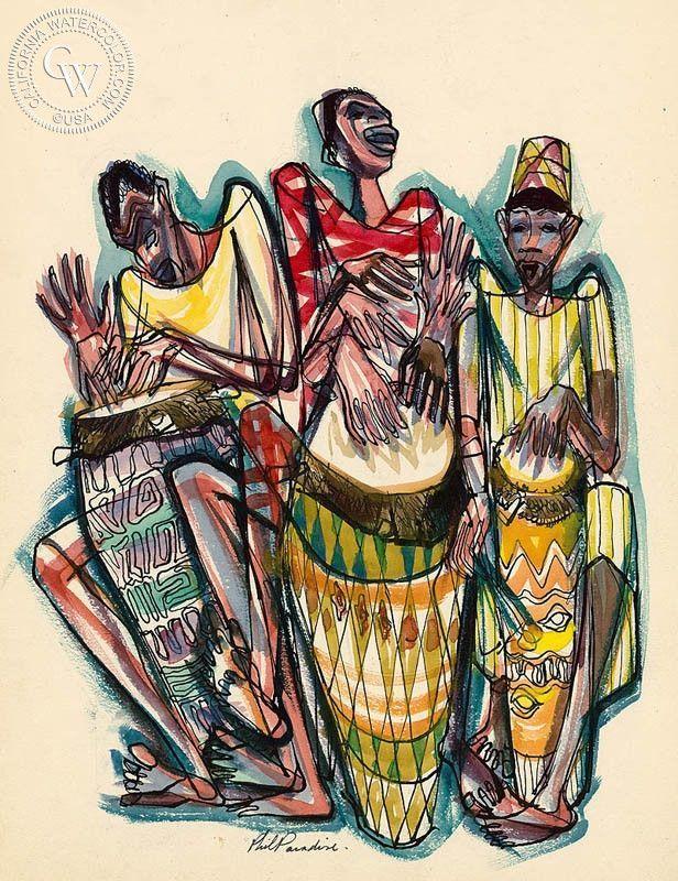 005 Haiti, Rhythm, 1954 Haitian art, Caribbean art, Drums art