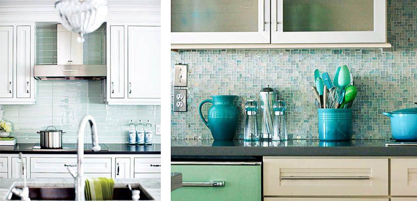 Frentes de cocina con mosaicos de cristal resultan - Cocina con pared de cristal ...
