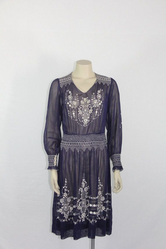 1920\'s - 1930s Vintage Dress - Incredible Dark Blue with White ...