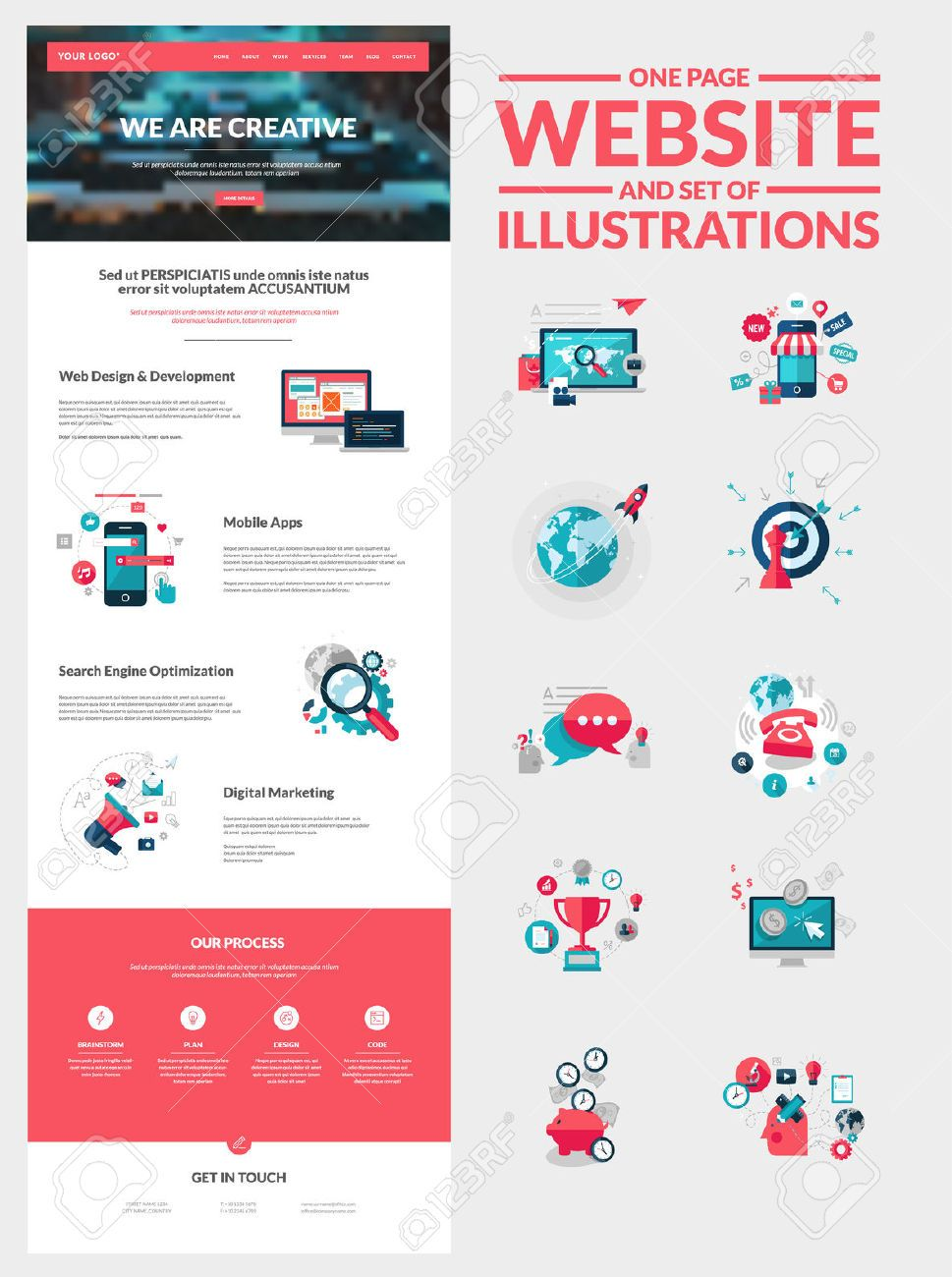 One Page Website Design Template All In One Set For Website ...