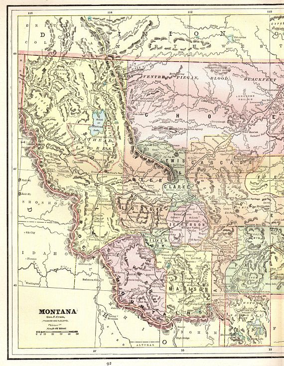 1892 Antique MONTANA MAP Vintage Montana State Map Gallery | United ...