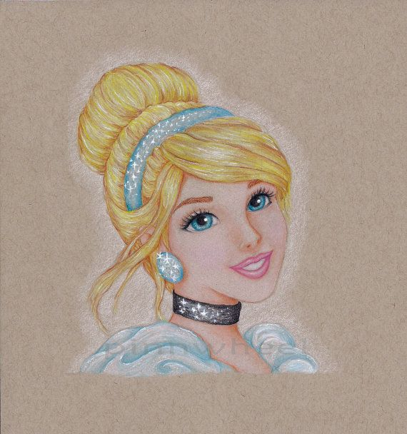 cinderella colored pencil drawing print by pinnwheel on etsy 1200