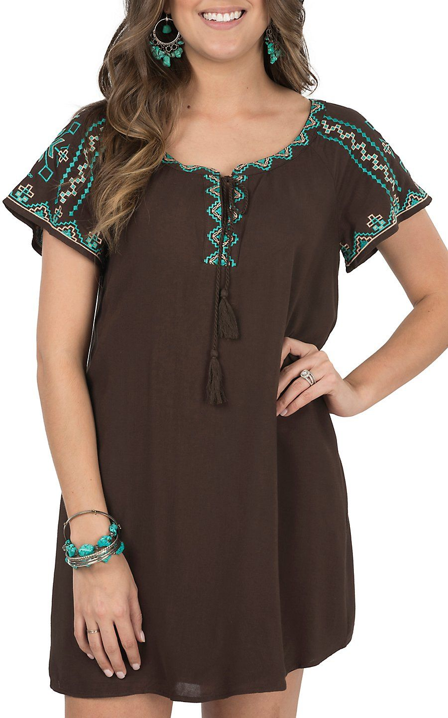 516a11b25cc Flying Tomato Women's Chocolate with Tribal Embroidery Short Sleeve Dress |  Cavender's