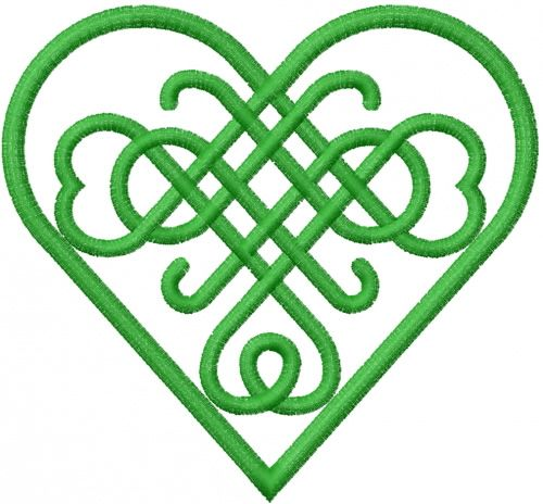 CELTIC HEART GREEN iron-on PATCH embroidered IRISH EIRE IRELAND LOVE KNOT EMBLEM