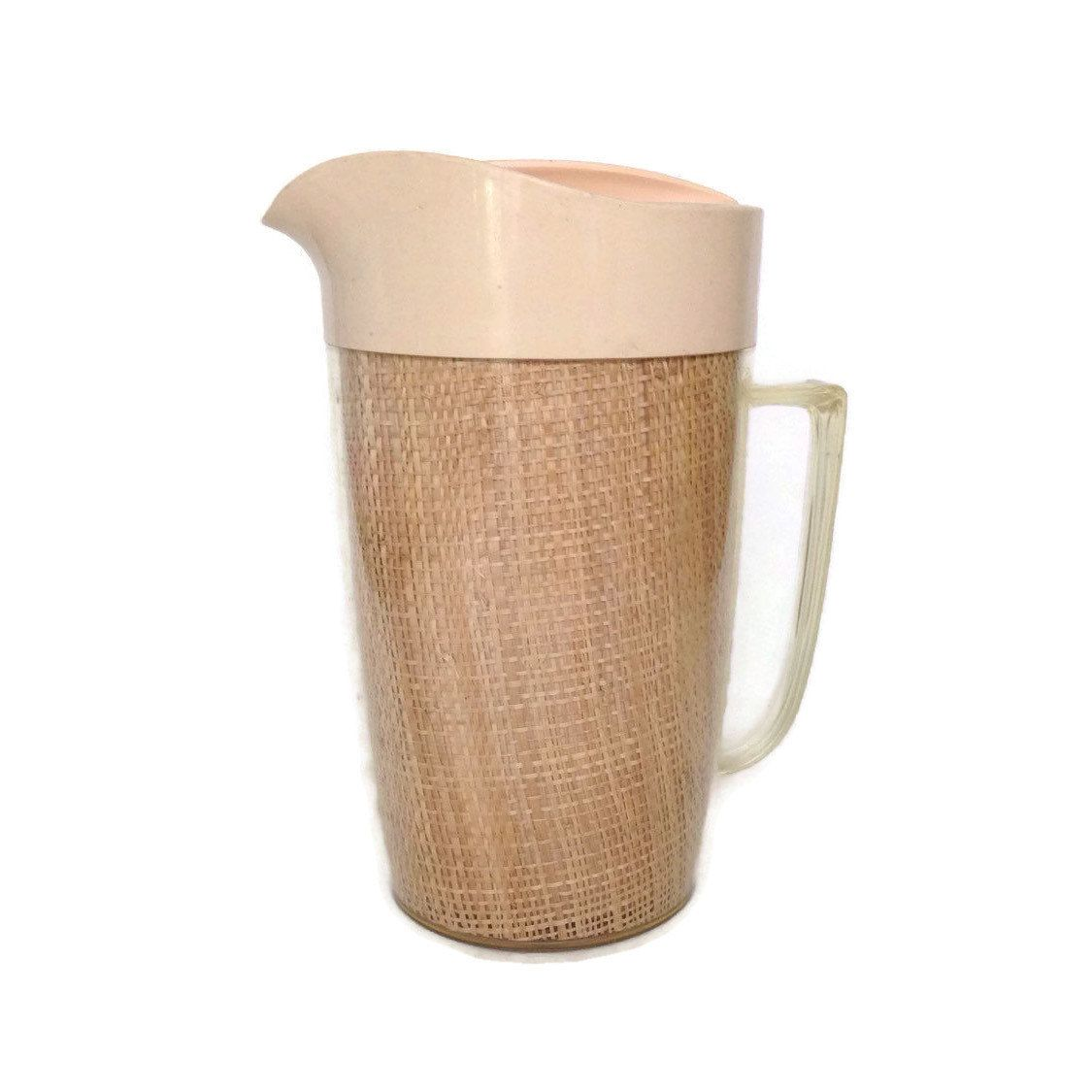 Raffia Ware Pitcher-Vintage Pitcher-Insulated Pitcher-Raffia Ware-Beige Plastic-Burlap Insulated Pitcher- Mid Century-Vintage Kitchen - pinned by pin4etsy.com