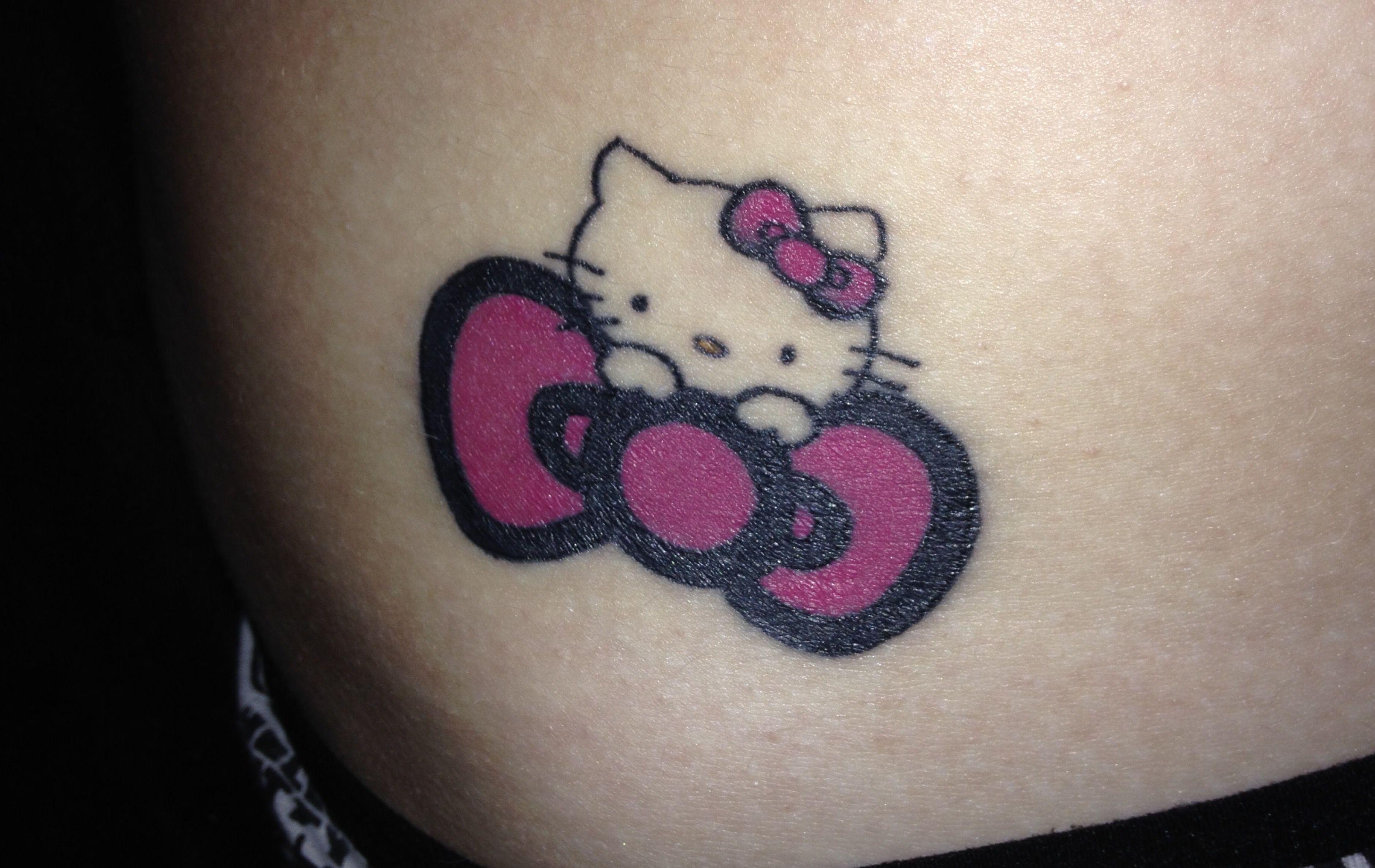 Hello Kitty Tattoo Firsttattoo Righthip Hellokitty Bow Cute Loveit Hello Kitty Tattoos Hello Kitty Bow Hello Kitty