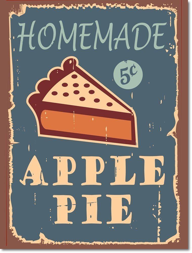 Blechschilder Küche retro nostalgie blechschild apple pie schild aus aluminium