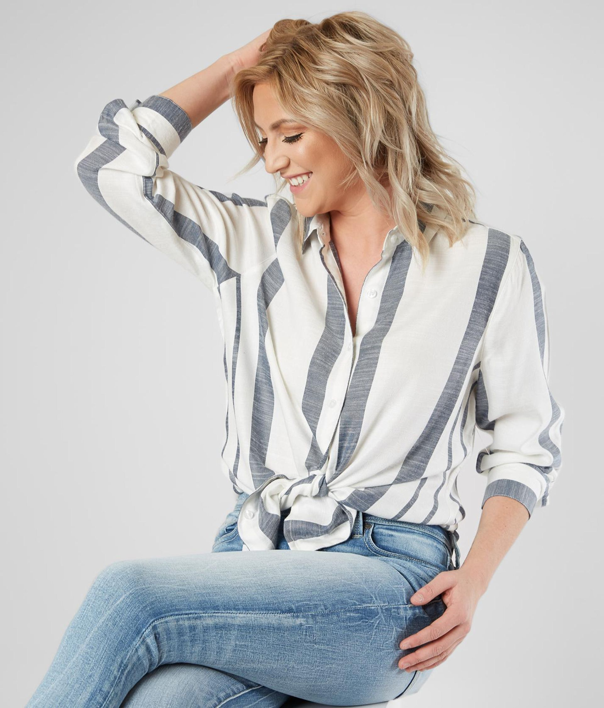 c94ef9ff57c Daytrip Striped Woven Shirt - Women's Shirts/Blouses in Blue White ...