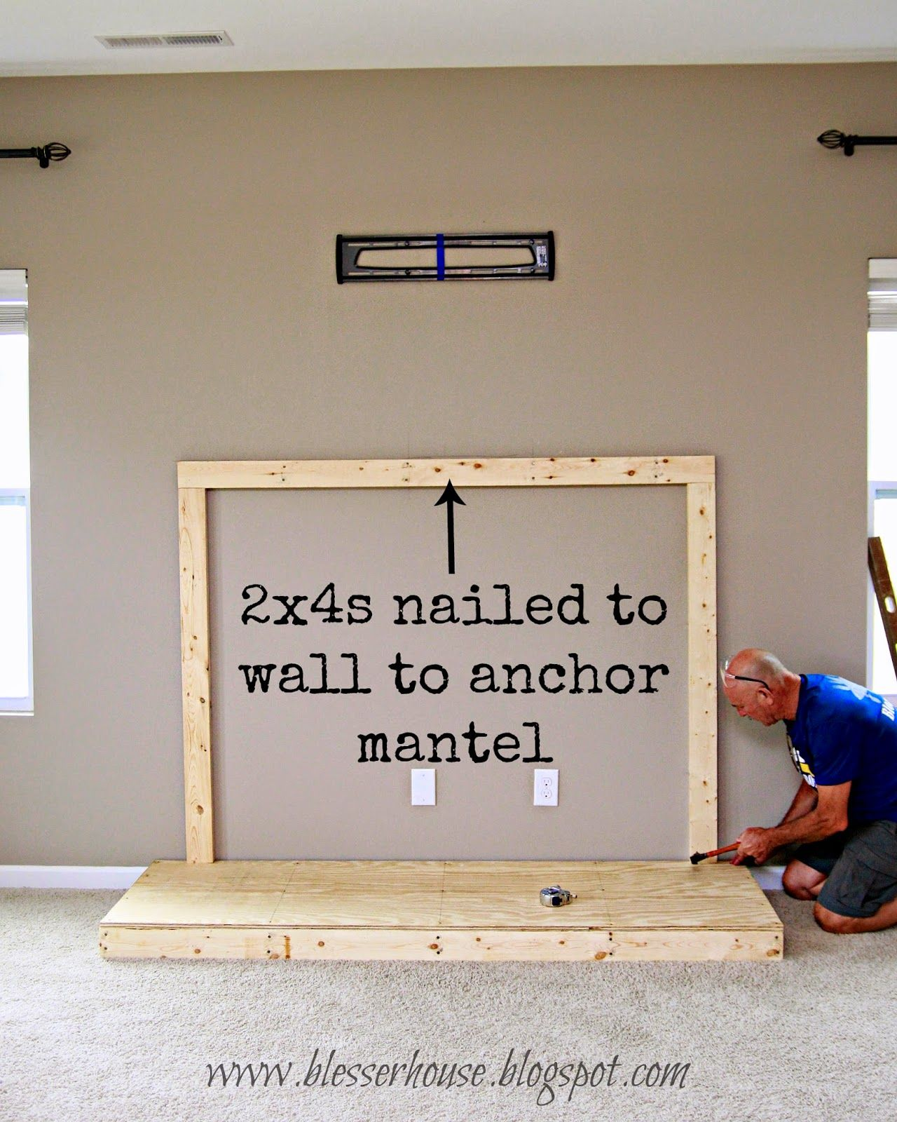 diy faux fireplace entertainment center part one builder grade