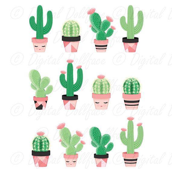 Cute Cactus Clipart, Potted Clip Art, Desert Cactus, Printable ...