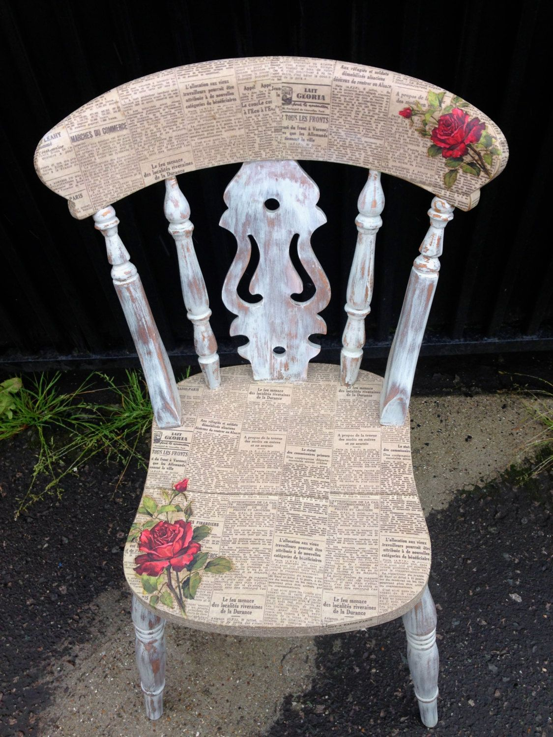 Ikea Gartenmöbel Nachstreichen Decoupage Vintage Chair W Roses And News Paper Print By Urbanrook