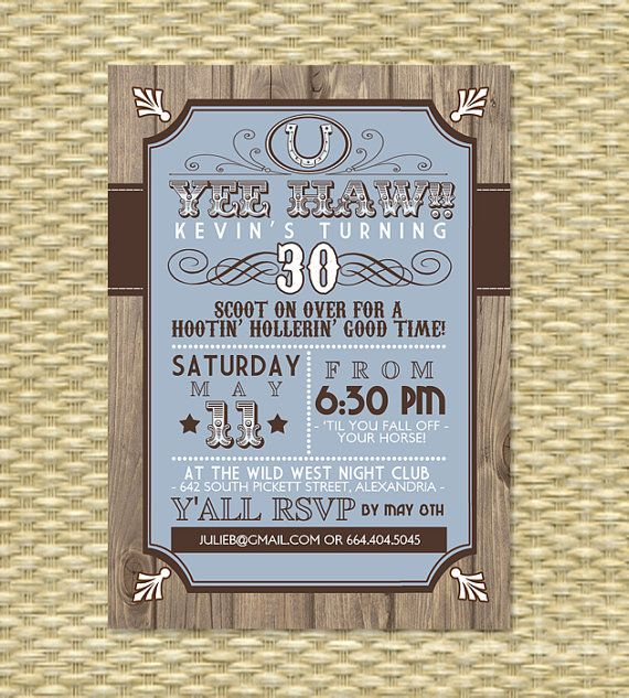 Country Western Adult Birthday Invitation By SunshinePrintables 1800