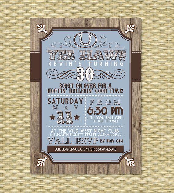 Country Western Birthday Invitation - Any Event - Any Color Scheme - fresh birthday invitation jokes