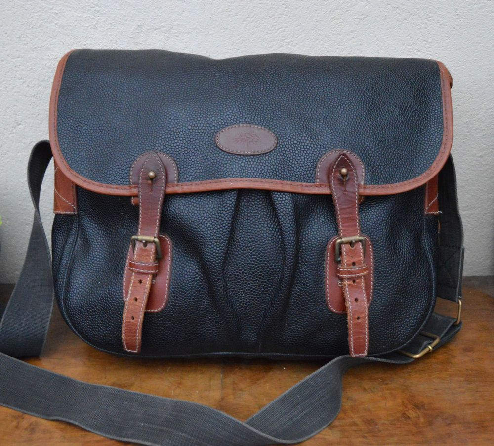 c8fe195b0d Authentic MULBERRY scotchgrain branston LEATHER TRIM trout shoulder bag  satchel