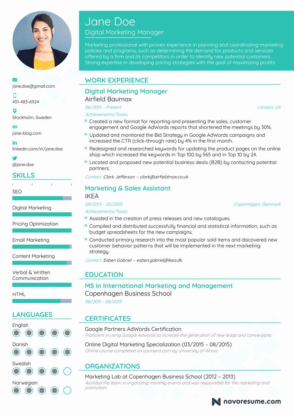 Digital marketing manager resume inspirational marketing